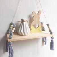 Kids Wooden Nordic Hanging Tassel Bead Wall Shelf Kids Baby Nursery Room Decor