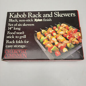 "CHARCOAL COMPANION KABOB RACK AND SIX 14"" NON-STICK SKEWERS"