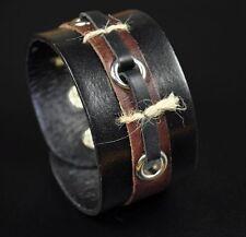 Z23 Natural Hemp Decor Surfer Vintage Wide Leather Wristband Bracelet Cuff Black