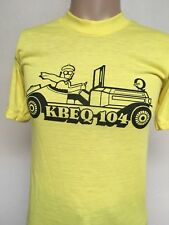 VTG 70s KBEQ 104 FM KANSAS CITY SUPER Q GRAPHIC T SHIRT Yellow CRISP Soft Thin S