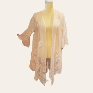 Eyeshadow Sz Small Lace Crochet Boho Cardigan  All-Over Embroidered Kimono pink