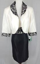 DANA KAY WOMEN'S SIZE 14 DRESS & JACKET BLACK CREAMY WHITE MOTHER OF BRIDE NEW