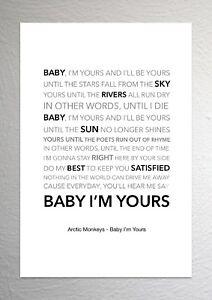 Arctic Monkeys - Baby I'm Yours - Colour Print Poster Art
