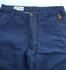Men's Orvis Blue Canvas Pants Sz 32 31 x 28.5 Tan Faux Leather Trim Safari Field