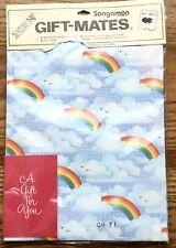 Vintage Sangamon Gift Mates Wrapping Paper Rainbows Birds Scrapbook