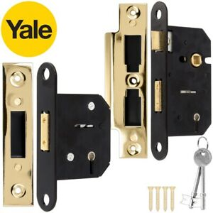 Yale 5 LEVER Polished Brass SASH/DEAD LOCK Mortice Door High Security 64mm 2 Key