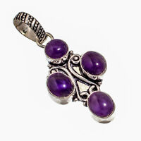 """Amethyst Sage Natural Gemstone Silver Plated Jewelry Pendant 1.99"""""""