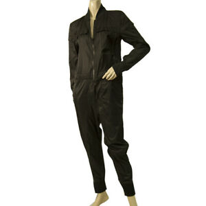 Nike Black Polyamide Zipper Front Long Sleeve Casual Overall Jumpsuit size XS