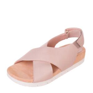 UNISA Leather Slingback Sandals Size 37 UK 4 US 6.5 Criss Cross Straps Footbed