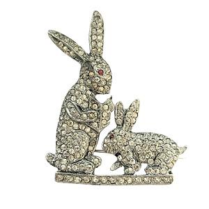 Early Pot Metal Pavé Baby Bunny Storybook Brooch