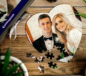 Custom Heart Puzzle Personalised Jigsaw Picture Photo Anniversary Love Wedding