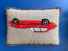 jonathan adler needlepoint Red car pillow