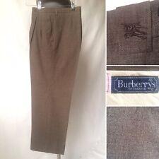 Burberry Vintage Mens Brown Wool Blend Short Leg Trousers 35 Waist 25.5 Leg