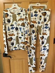 New Carter's Boys Bear Pajama set White Navy Snug Fit 12,14 LONG Sleeve