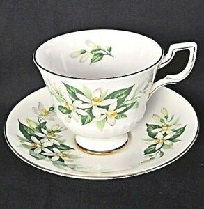 Royal Tuscan China White 'Bridal Flower' Footed Teacup & Saucer Set Exc Cond