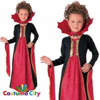 Childs Girls Gothic Vampiress Vampire Halloween Fancy Dress Party Costume