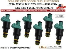 6 Fuel Injectors 4Hole OEM BOSCH for 1991-1999 BMW 323i 323is 325i 525i 525iT/M3