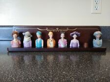 7 Vintage Avon American Fashion Silhouette Thimbles with Display Rack