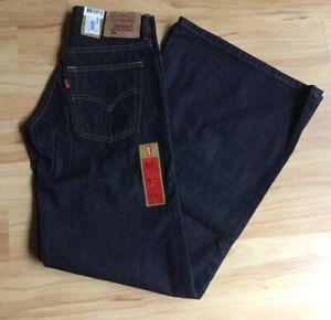 NWT Levi Strauss Vintage 608 Womens Wide Leg Dark Blue Jeans Waist 25 26 27in