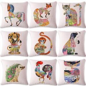 18'' Ukiyoe Abstract Cotton Linen Pillow Case Sofa Cushion Cover Home Decor