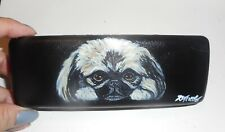 Pekingese Dog Hand Painted Eyeglass Glasses Hard Case