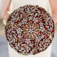 Shiny Red Satin Roses Stones Wedding Bridal Bouquet Bride/Bridesmaid Hand Flower