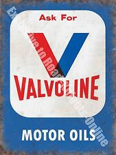 Valvoline Motor Oils, Petrol,158 Vintage Garage Old Oil, Medium Metal/Tin Sign