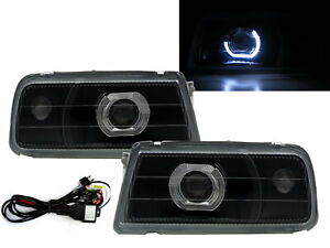 Tracker 1988-1998 Guide LED Halo Projector Headlight Black V2 for GEO LHD
