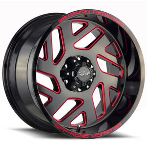 "OffRoad Monster M19 20x10 5x5"" -19mm Black/Milled/Red Wheel Rim 20"" Inch"