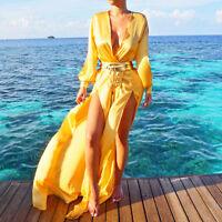 Ladies Women Chiffon Cardigan Kaftan Cover Up Long Beach Dress Holiday Swimwear