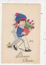 Edmond Sornein Bonne Annee Children Vintage Art Postcard 875a