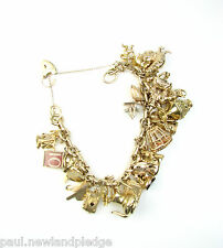 "9ct 9Carat Yellow Gold Charm Linked Bracelet With 32 Mixed Charms 9.50"" Inches"
