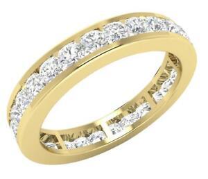 VVS1 E 2.00 Ct Eternity Anniversary Round Cut Diamond Ring 3.60MM 14K Solid Gold