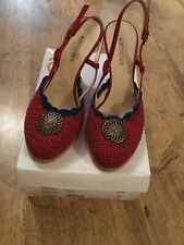 Kurt Geiger KG Red Blue Gold Woven Knit Wedge Heel Shoes Size 5 UK Womens Ladies