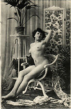 PC CPA RISQUE, LADY POSING ON A CHAIR, Vintage PRINTED PHOTO Postcard (b17211)