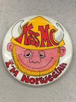 """Vintage Pin PINBACK BUTTON 1.75"""" Kiss Me I'm Norwegian 1970s Viking"""