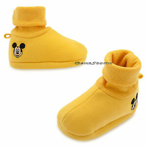 Mickey Mouse Face Yellow BABY Costume Dress Up SHOES SLIPPERS Disney Store NWT