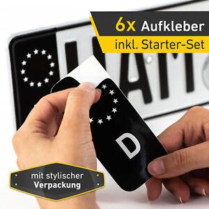 6x Kennzeichen Nummernschild Aufkleber, EU Feld Schwarz, inkl. 3x Starter-Set