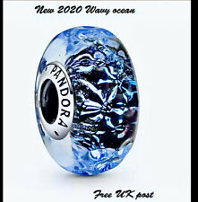 Pandora Wavy Ocean Murano Charm Genuine Sterling Silver Handmade Italian Glass