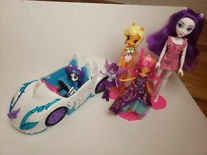 "My Little Pony Equestria Girls Rockin Convertible Car 13"" Lot 5 Dolls Rarity"