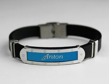 ANTON - Mens Silicone & Blue Name Plate Engraved Bracelet - Gifts For Him