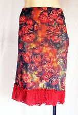 """Stretchy DARK RED FLOWERY pencil skirt, UK size 8,10,12, 25"""" long new"""