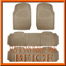 Fits 4 PCS  KIA SEDONA HEAVY DUTY BEIGE RUBBER FLOOR MATS / FULL SET
