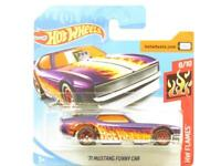Hotwheels 71 Mustang Funny Car HW Flames 57/250 Short Card 1 64 Scale Sealed New