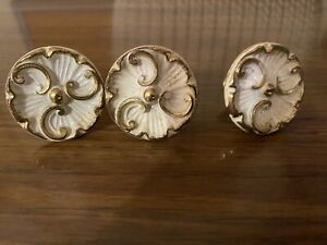 Lot Of 8 Antique Desk Drawer Hardware / Drawer Pulls / White with gold fleuris
