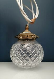 Cut Crystal Hanging Light Pendent Brass Fitting