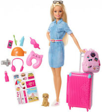 Barbie Travel Doll and Puppy Playset Kid Girl Toy Gift