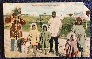 Postcard AK Valdez Alaskan Family Kid's with a Huskie c.1913