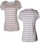Viscose Striped Short Sleeve Basic T-Shirts for Women