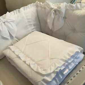 Cot Bedding White Filled Cotbed Quilt withTufted Bumper White Pink Blue Grey
